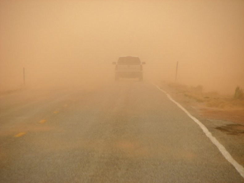 Road in a dust storm
