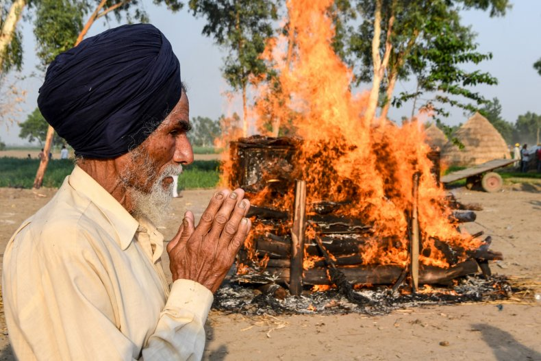 Open-air cremation in India