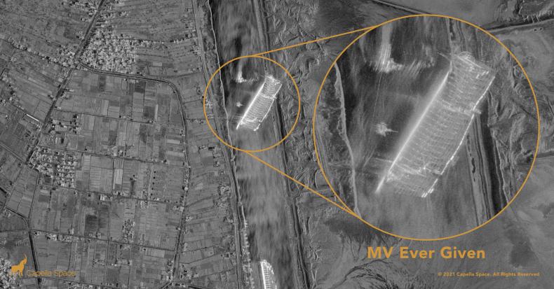 Ever Given ship Suez satellite image 2021