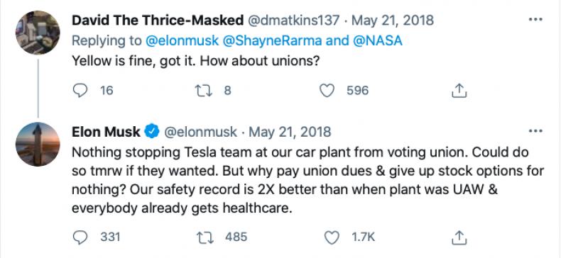 Elon Musk Union Tweet