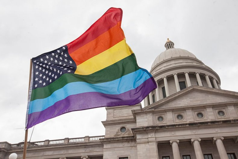 Rainbow Flag Arkansas State Capitol