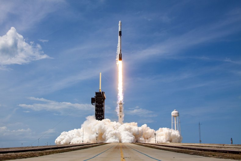 A SpaceX Falcon 9 rocket launches