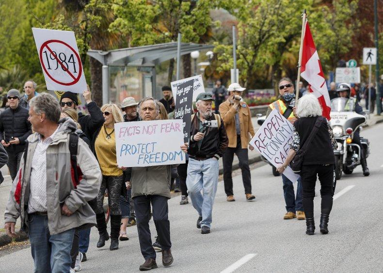COVID-19 protesters demonstrare in Vancouver, Canada