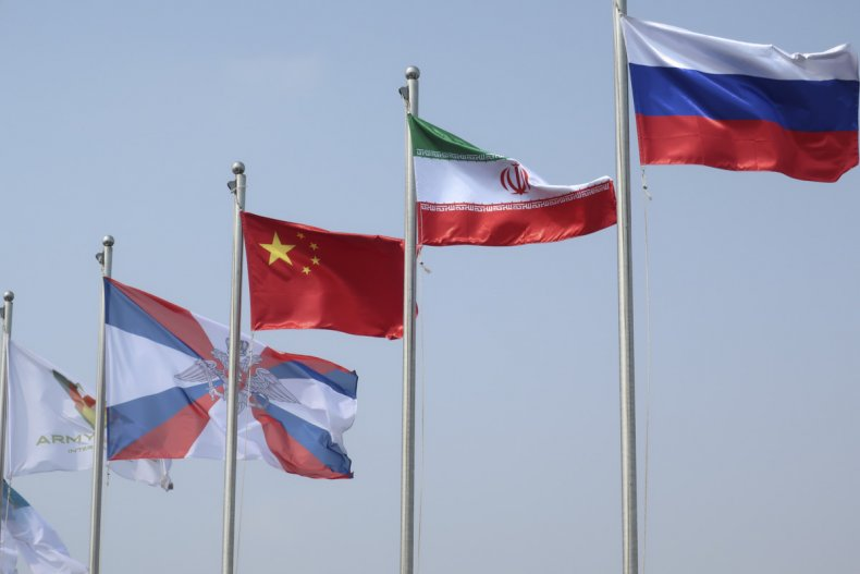 china, iran, russia, flags, competition