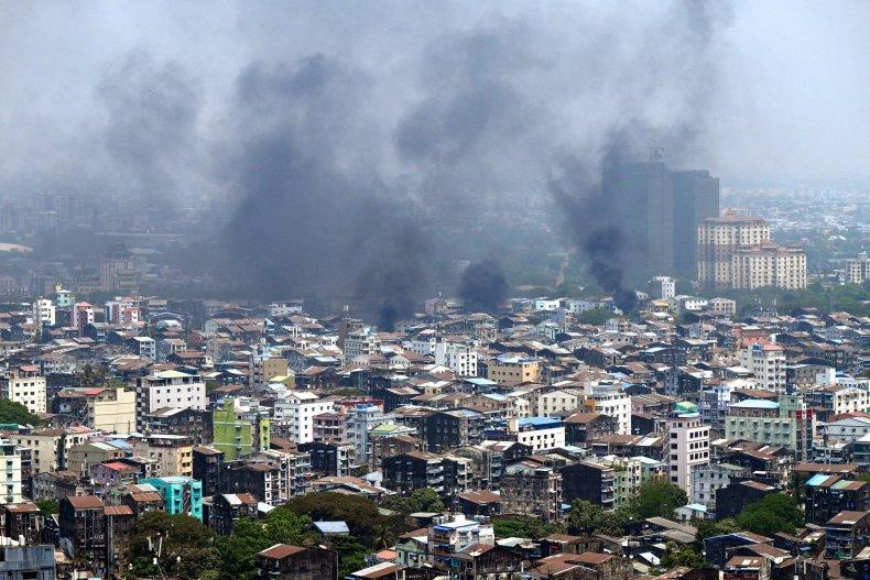 Smoke Rises Over Yangon, Myanmar