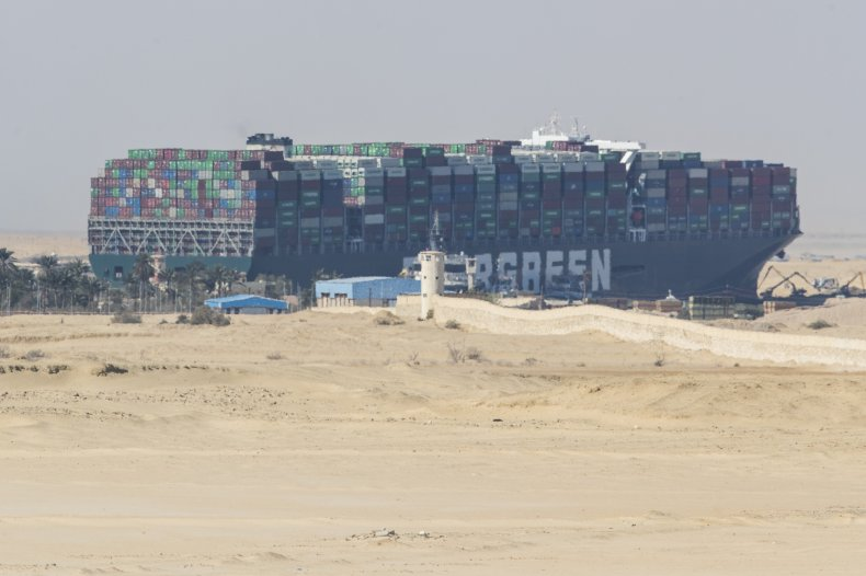 The container ship stuck in the Suez