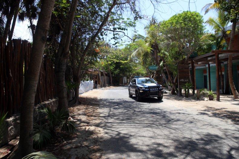 Police car patrols Tulum, Mexico