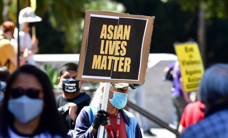 asian lives matter sign rally california