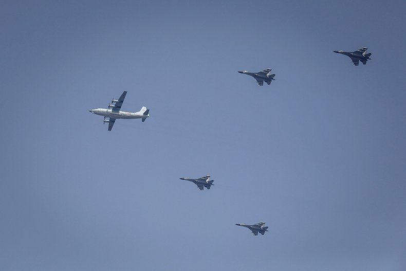 Chinese Aircraft Fly Over Beijing During Parade