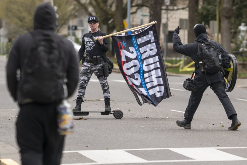 Protesters and Trump supporter in Salem, Oregon