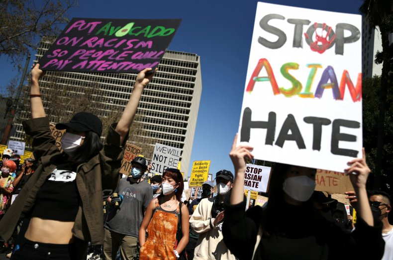 L.A. protest against anti-Asian violence March 2021