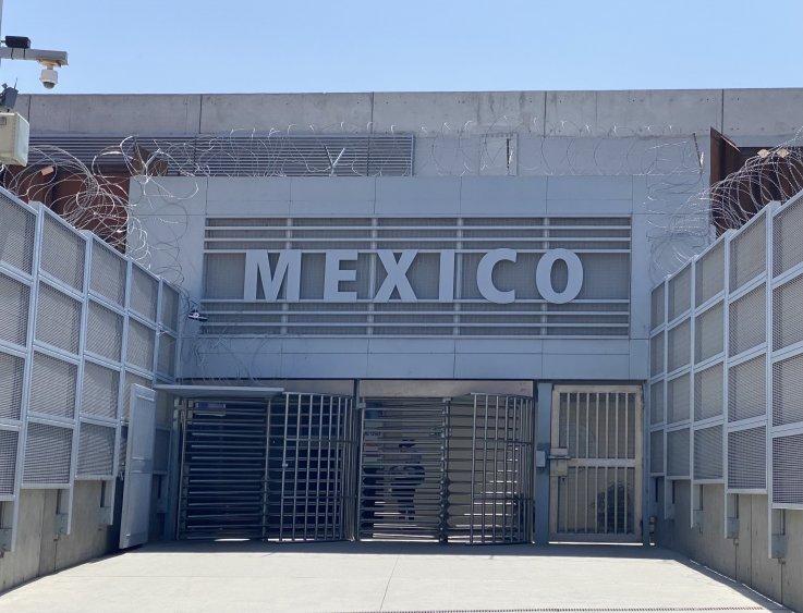 border entrance to Mexico Razor Wire