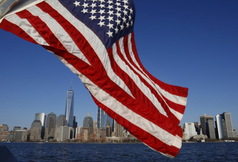 American flag waving in New York City