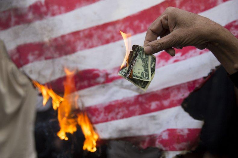 iran, protest, burn, us, dollar, flag