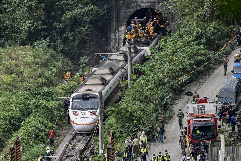 Responders at site of Taiwan train crash