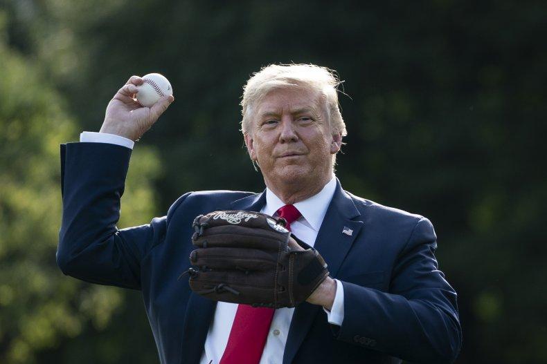 Former President Donald Trump Throws a Baseball
