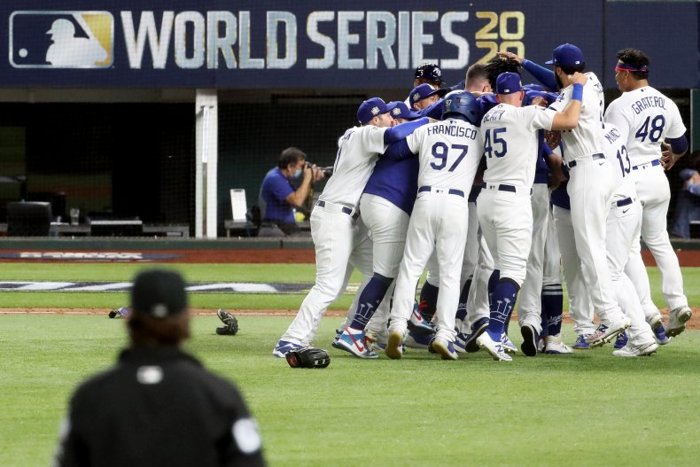 The Los Angeles Dodgers Celebrate Their Victory