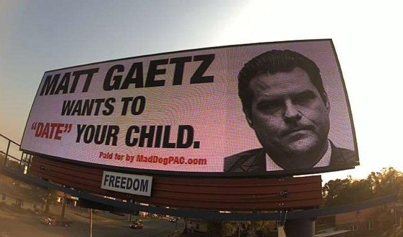 Billboard Depicting Representative Matt Gaetz