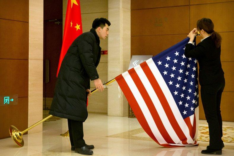 china, us, flags, trade, talks