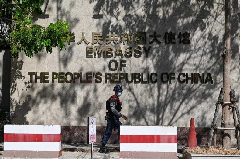 china, embassy, yangon, protest, unrest, myanmar