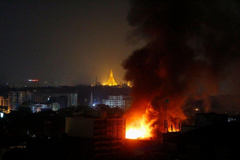 myanmar, unrest, protest, fire, yangon