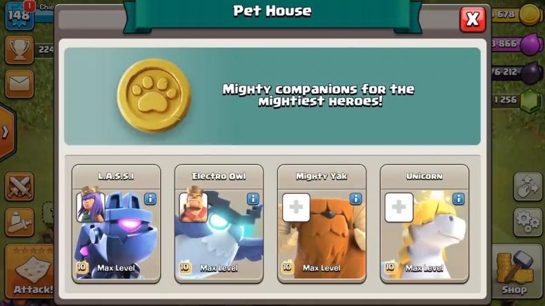 clash clans hero pets pet house