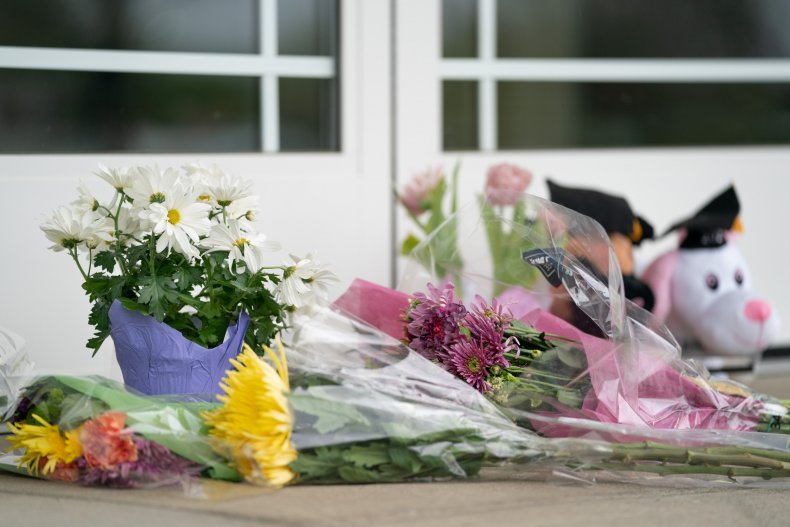 Flowers left outside following the deadly shooting