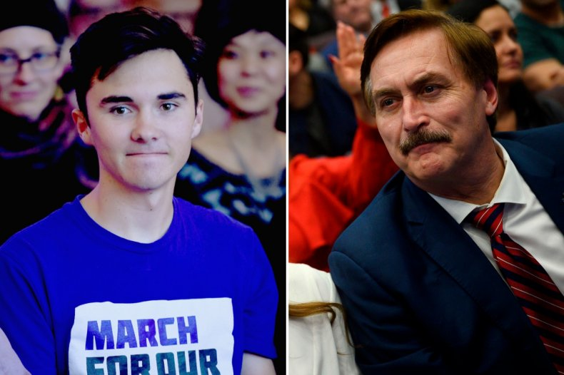 Composite of David Hogg and Mike Lindell