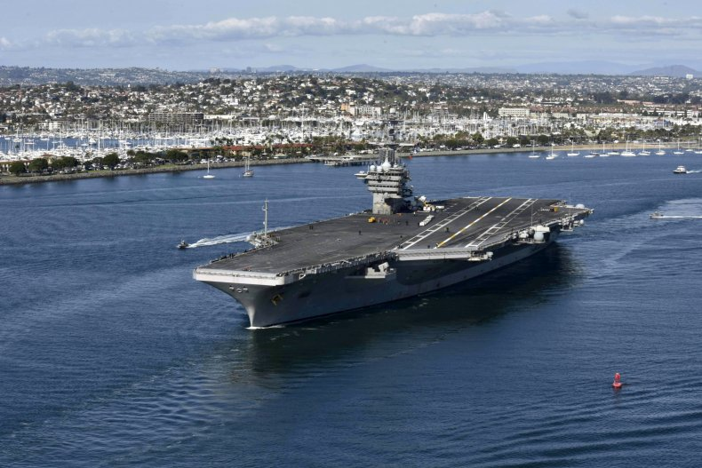 The aircraft carrier arrived in the region