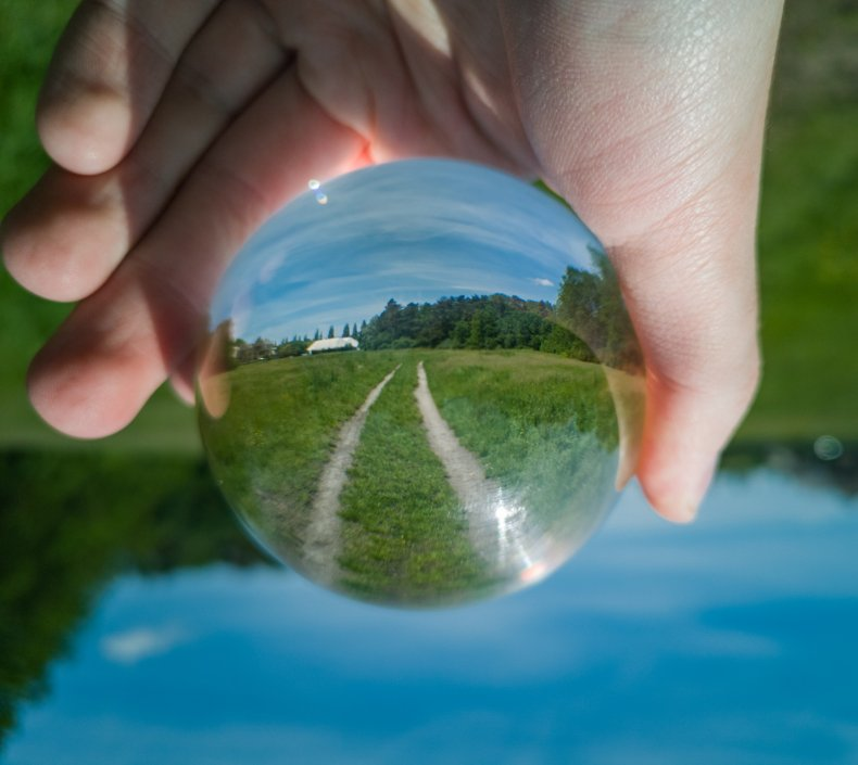 Garden path reflecting in crystal glass ball