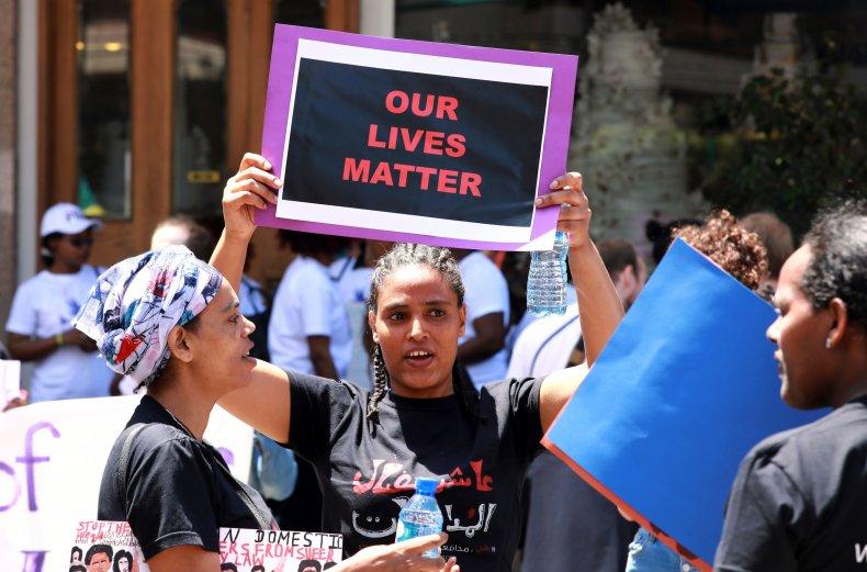 Migrant domestic workers protest in Lebanon