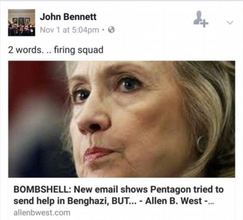 John Bennett Facebook post from 2016