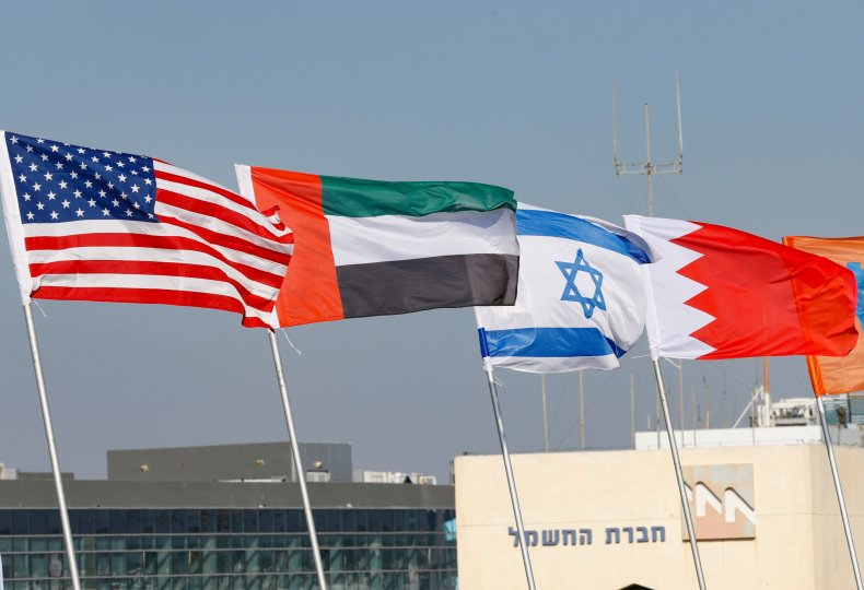 Flags of the U.S., UAE, Israel and
