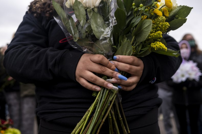 Flowers at a vigil for Daunte Wright