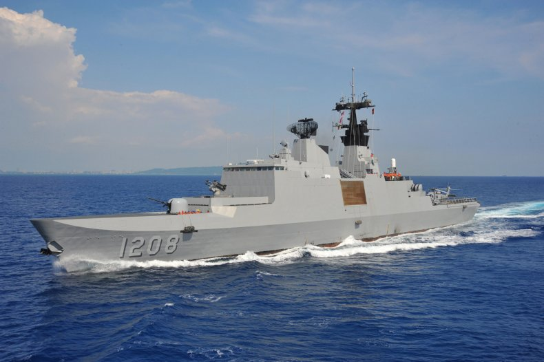 Taiwan Navy Ship Conducts Sea Drills