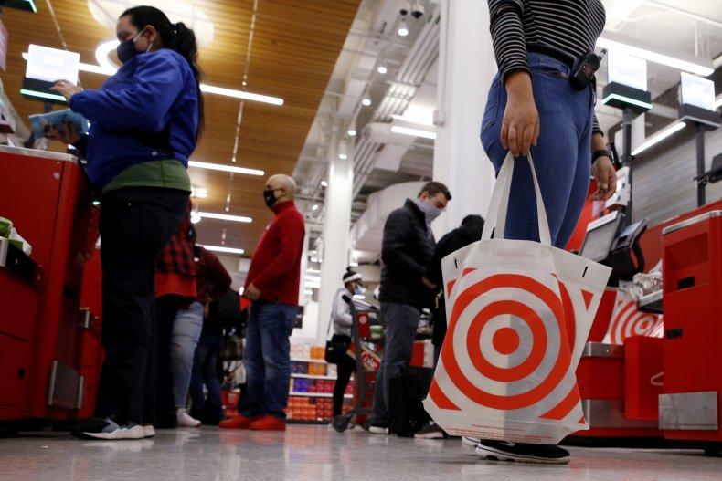 A woman carries reusable bag at Target