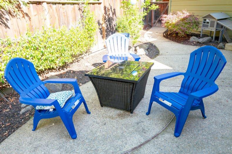 blue lawn furniture