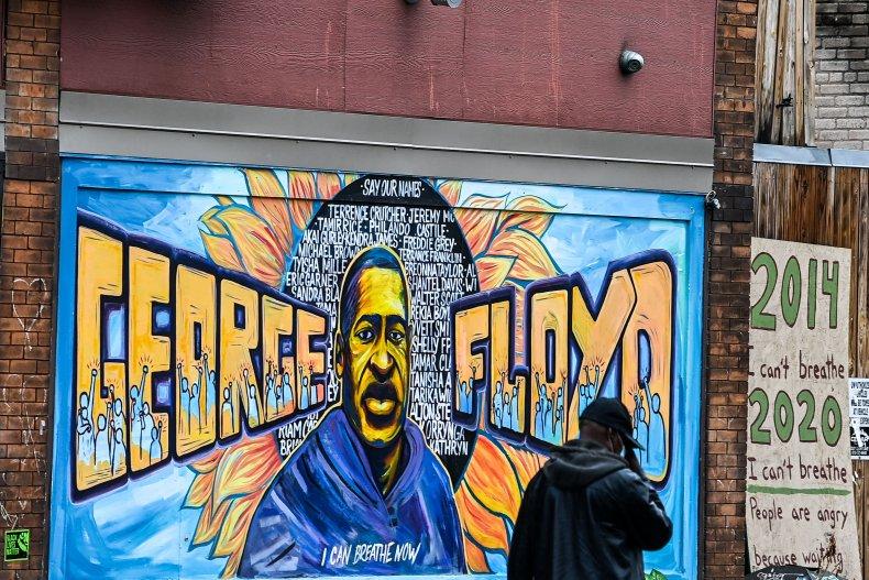 Derek Chauvin trial George Floyd mural