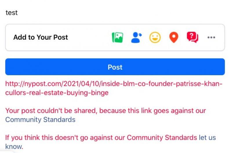 Facebook blocks New York Post BLM article