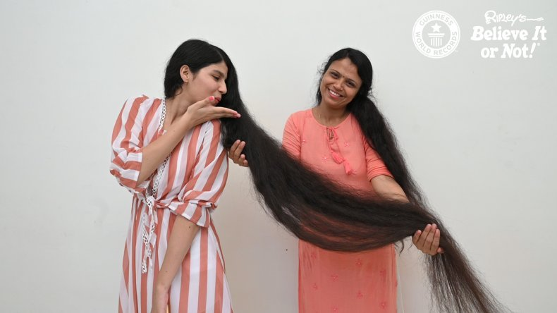 Nilanshi Patel with her record-breaking hair