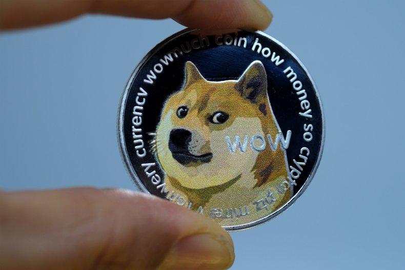 Person holding visual Dogecoin representation