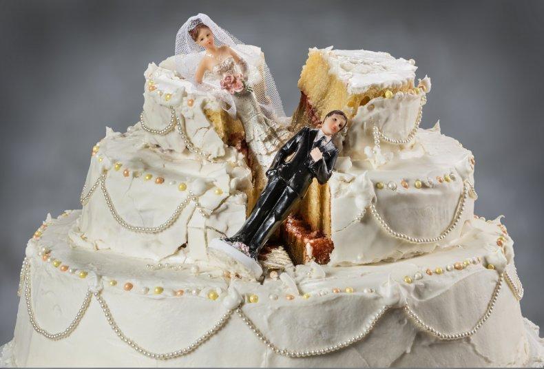 Stock image of a smashed wedding cake