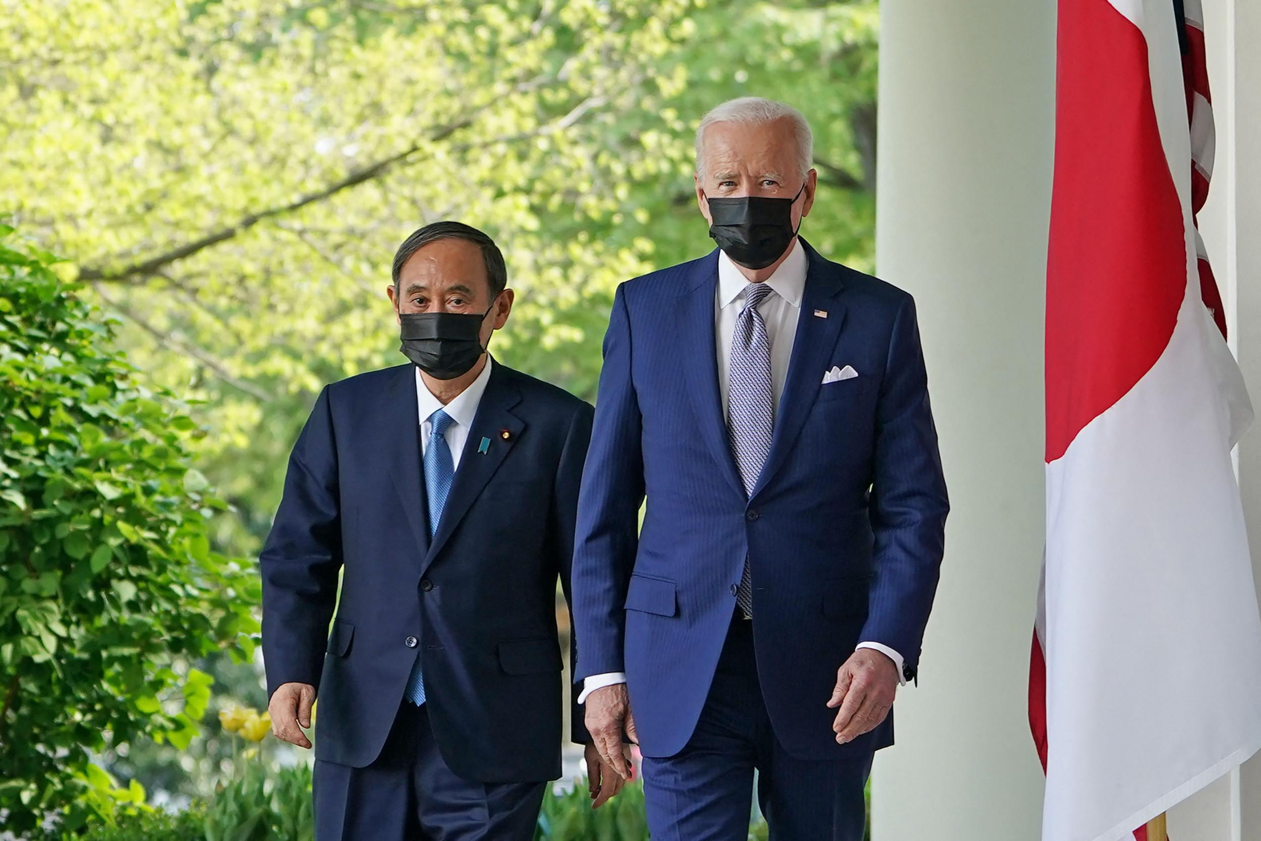 Yoshihide Suga Affirms 'Tight Bond' Between U.S., Japan In Visit with Joe Biden