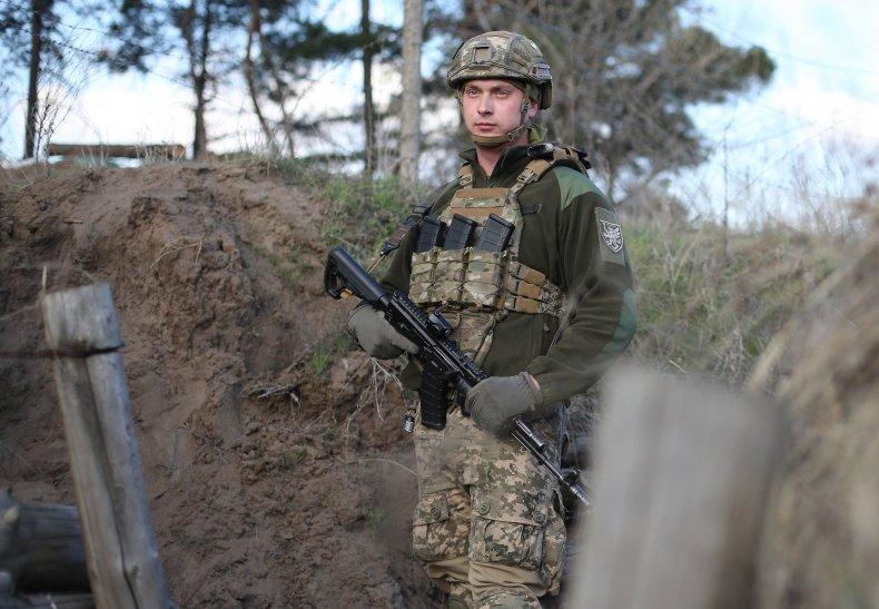 Ukrainian serviceman in Schastya