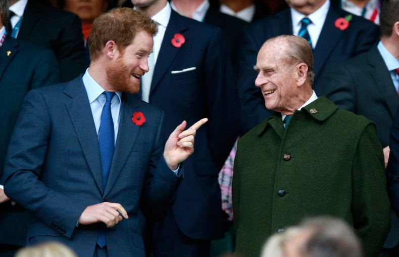 Prince Harry and Prince Philip at Rugby
