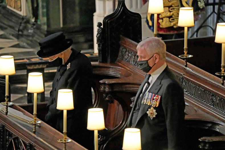Queen, Prince Andrew at Prince Philip's Funeral