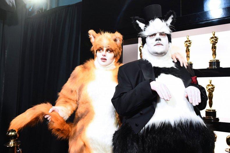 Rebel Wilson James Corden cats costume oscar
