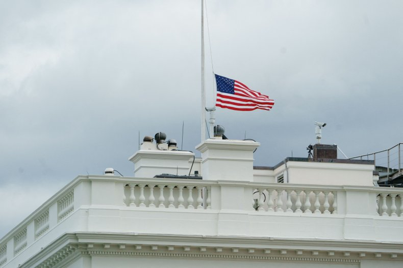 The flag was lowered to half staff