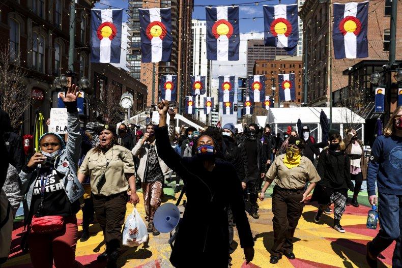 Daunte Wright protesters march in Colorado