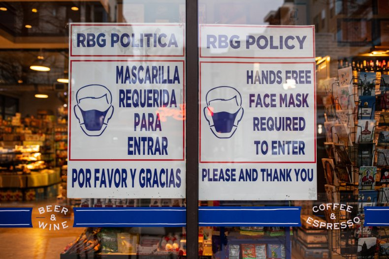 Grocery mask sign Austin Texas March 2021